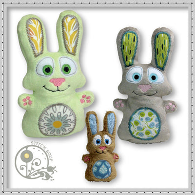 Machine embroidery in the hoop (ITH) stuffed bunny