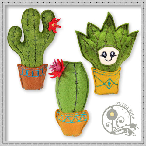 StitchSoup Machine Embroidery In the Hoop (ITH) stuffed cactus