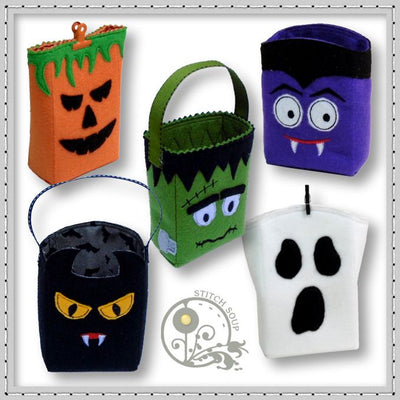 StitchSoup Machine Embroidery ITH Halloween Treat Bags