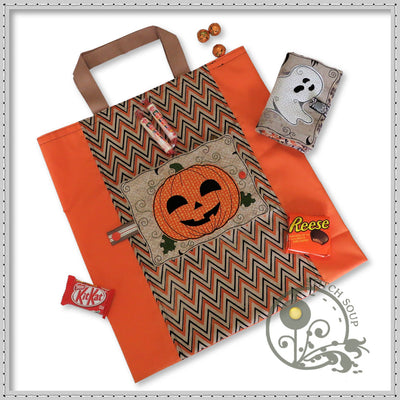 StitchSoup Machine Embroidery in the hoop (ITH) Halloween trick or treat bag