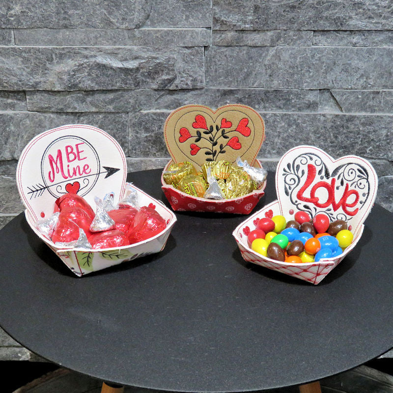 StitchSoup Machine Embroidery In the Hoop (ITH) Valentine Treat Bowls