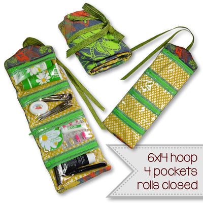 Machine embroidery in the hoop (ITH) zipper roll pouch