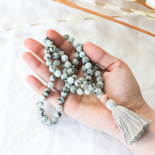 Mala Beads Necklace with gemstone beads