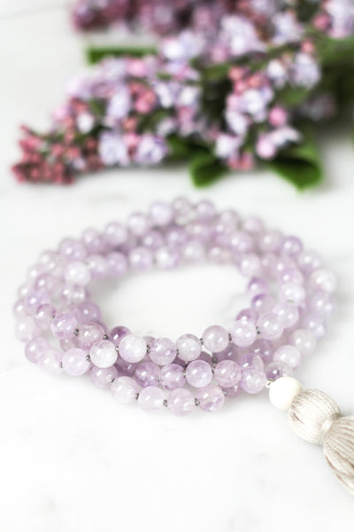 Peace Mala bead necklace made from amethyst