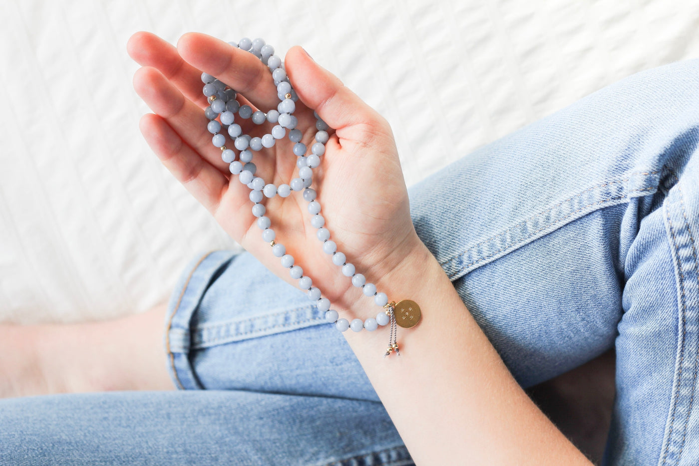 Gemstone Mala Jewelry with Diamond Pendant