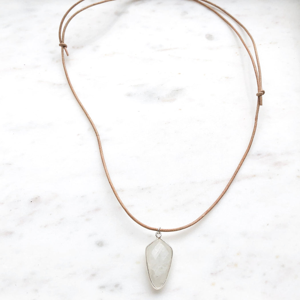 Leather Cord with Moonstone Pendant