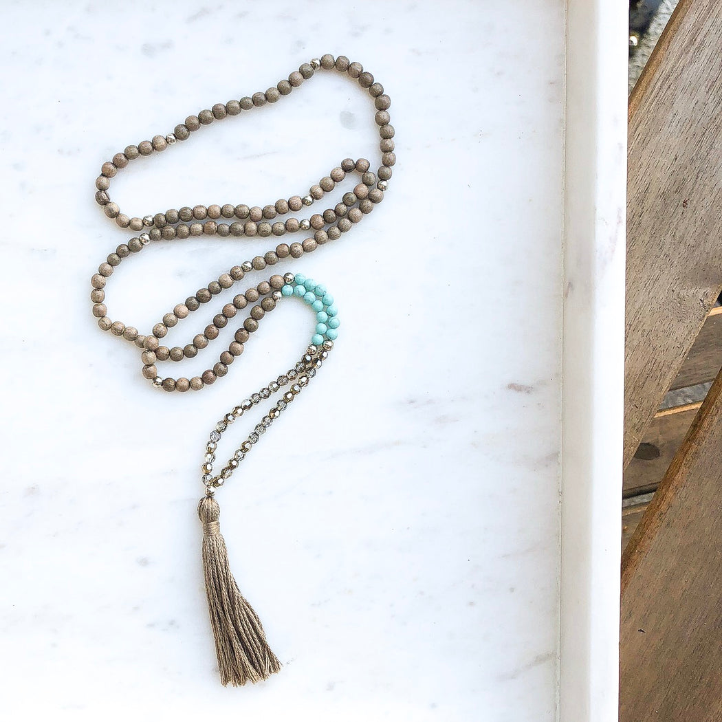 Grey Wood Bead and Crystal Tassel Necklace - Blue Magnesite