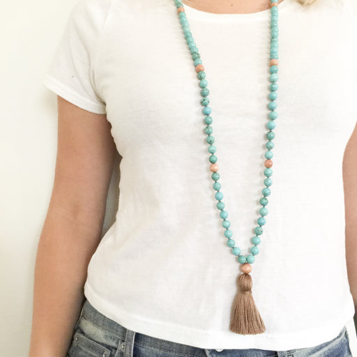 Reflect Mala Necklace With Magnesite Gemstone Beads