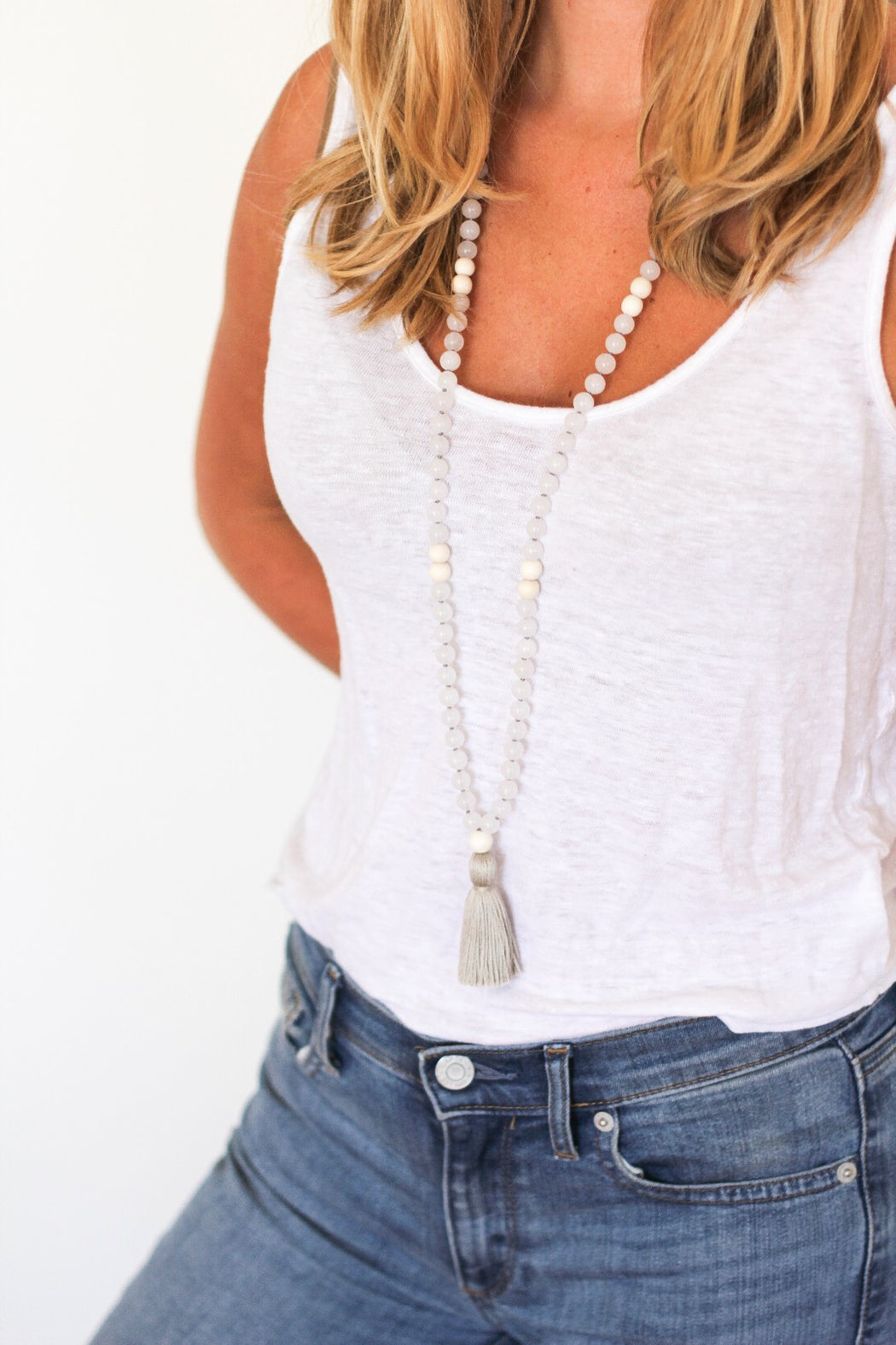 Quartz mala bead necklace