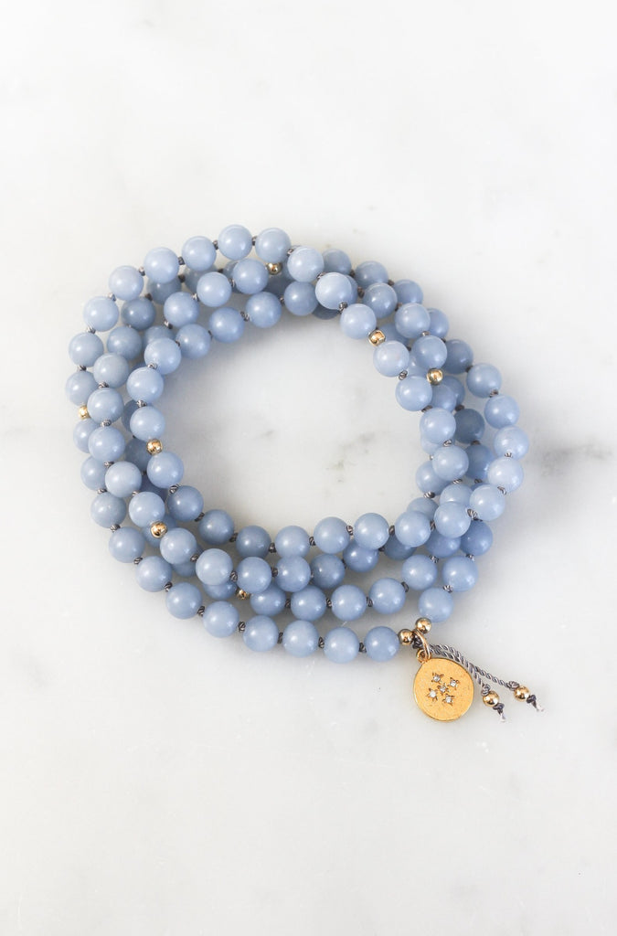angelite mala diamond pendant necklace