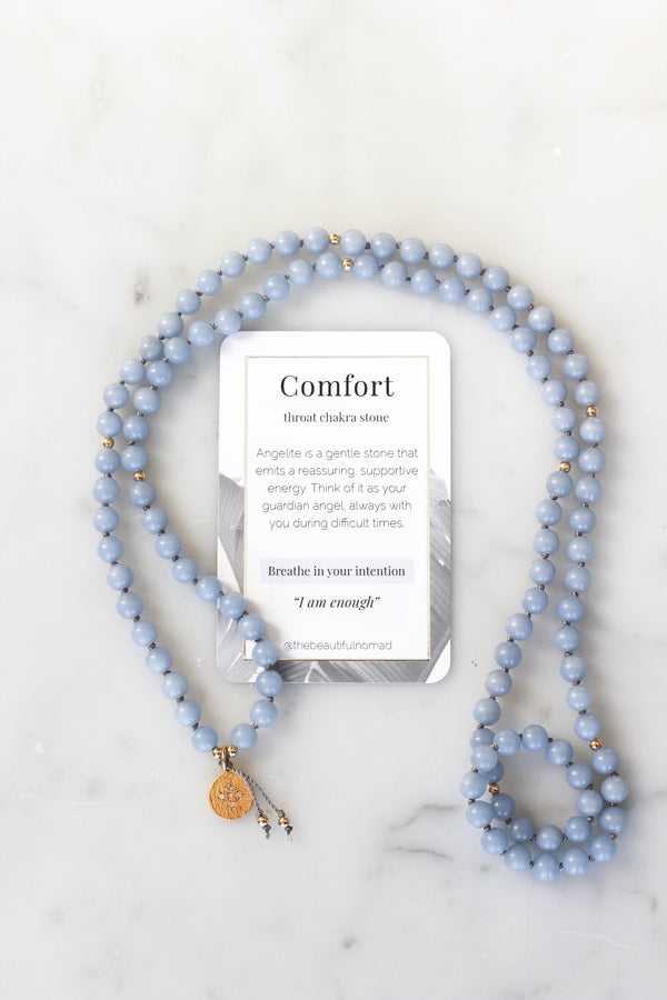 angelite pendant necklace with meaning card