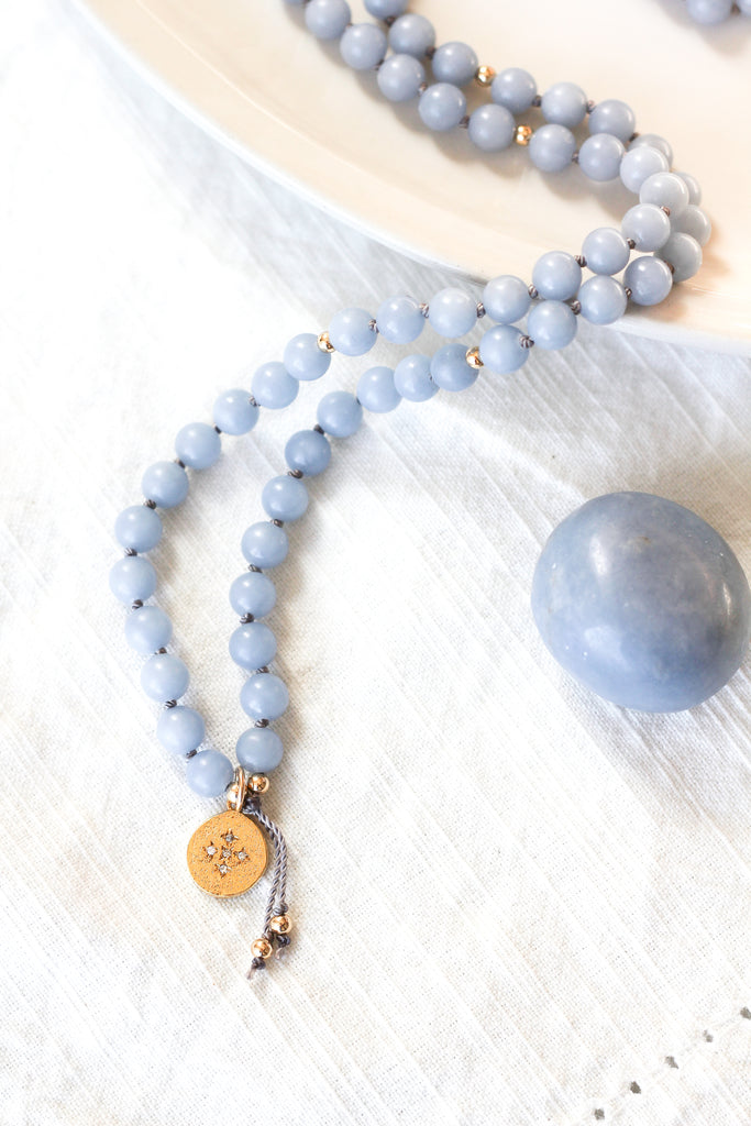 angelite mala diamond pendant necklace with angelite gemstone