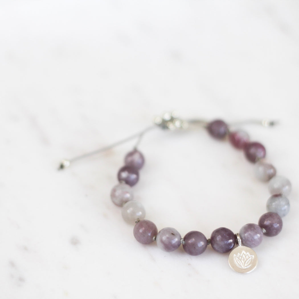 Balance Beaded Mala Bracelet With Lilac Stone Gemstone Beads
