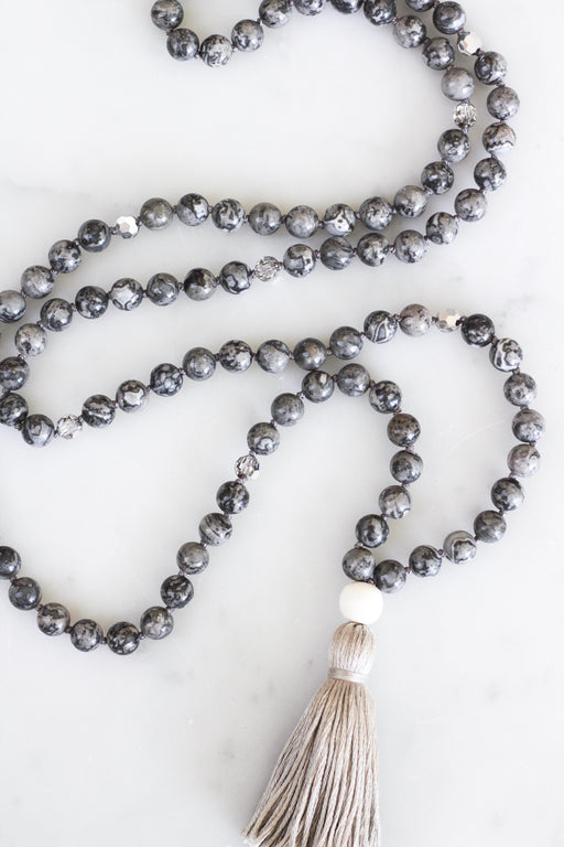 Crazy Lace Agate Mala Necklace