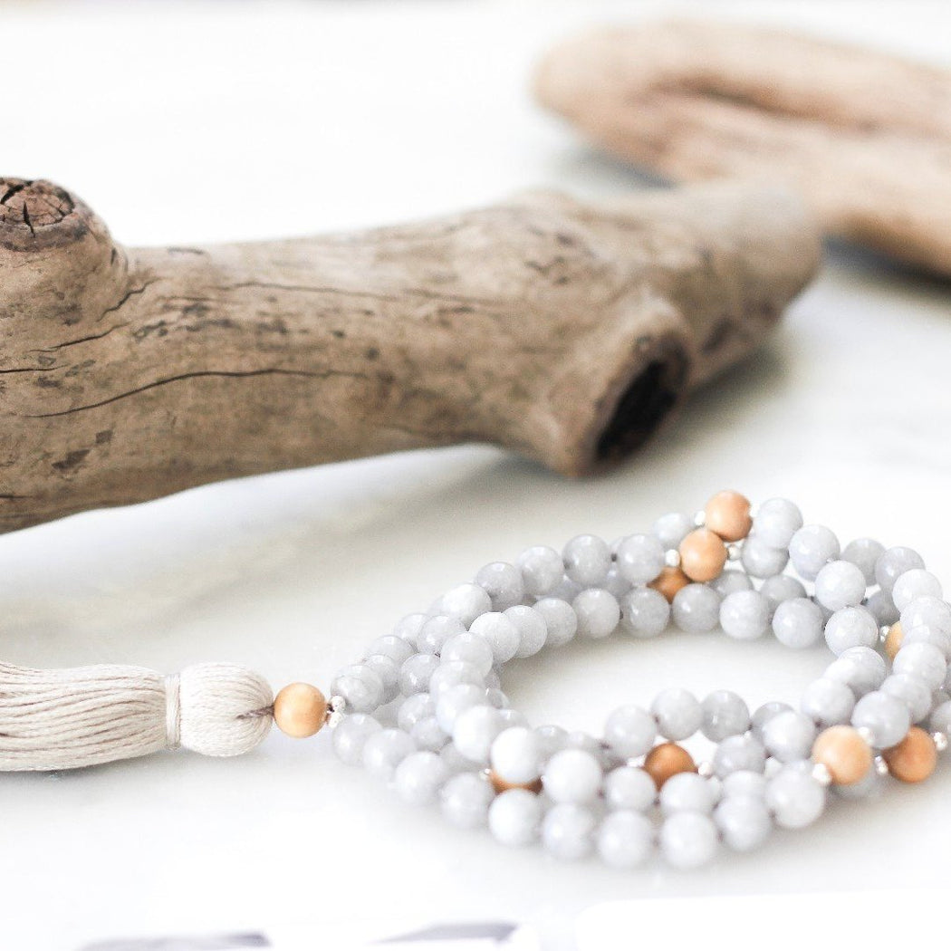 Dream X Sandalwood Beaded Mala Necklace with Grey Jade Gemstone Beads