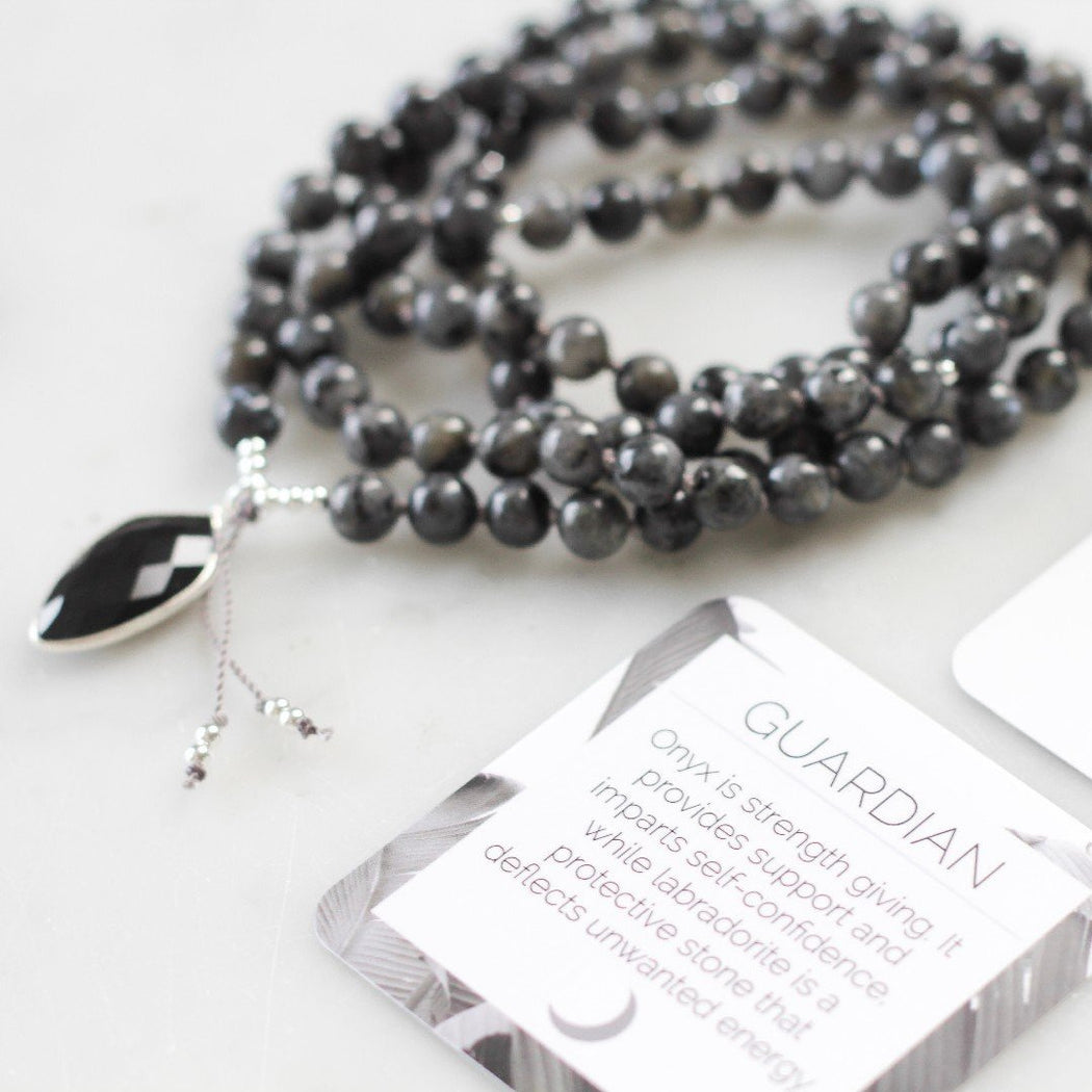 Guardian Beaded Mala Necklace With Labradorite Gemstone Beads and Onyx Pendant
