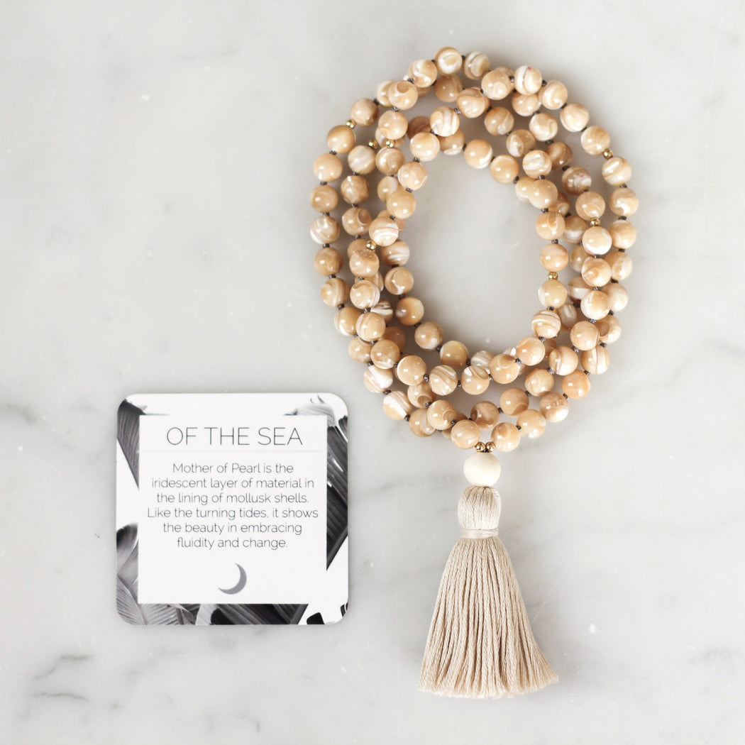 Mother of Pearl Mala Beads Necklace
