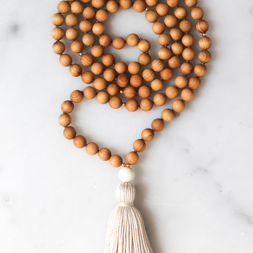 Cedar wood Mala Beads Necklace