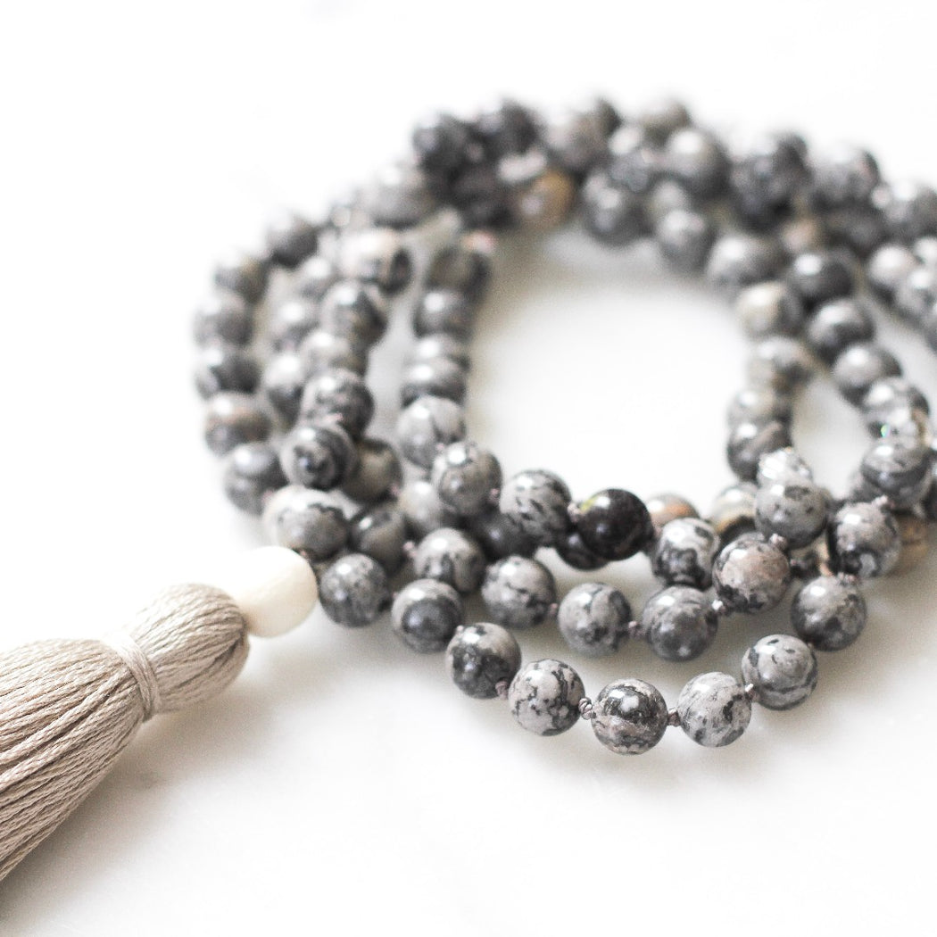 Joy Beaded Mala Necklace with Crazy Lace Agate gemstone beads