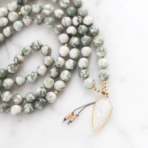 Moon Dancer Beaded Moonstone Mala Necklace with Moonstone pendant and Jade gemstone beads