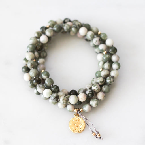 peace jade pendant mala necklace