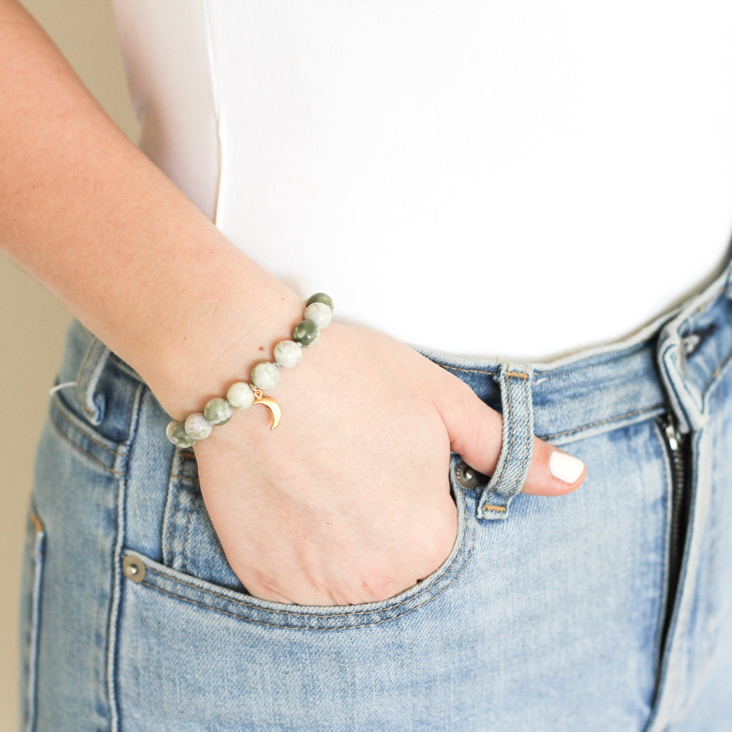 Peace Jade Mala Bracelet on model