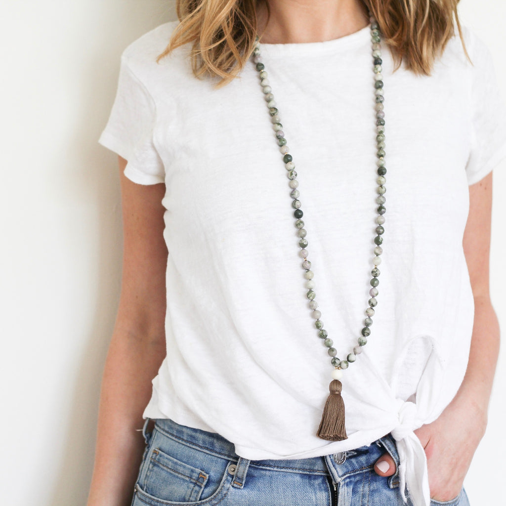 Peace Jade Mala Necklace on model