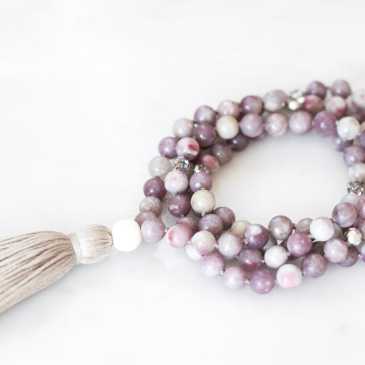Pink Tourmaline Mala Necklace