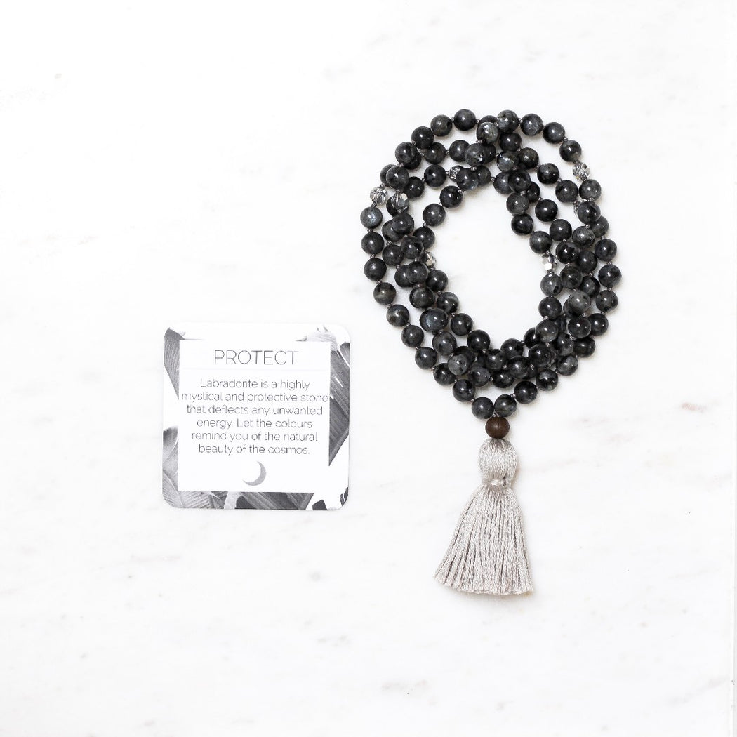 Protect Beaded Mala Necklace With Labradorite Gemstone Beads