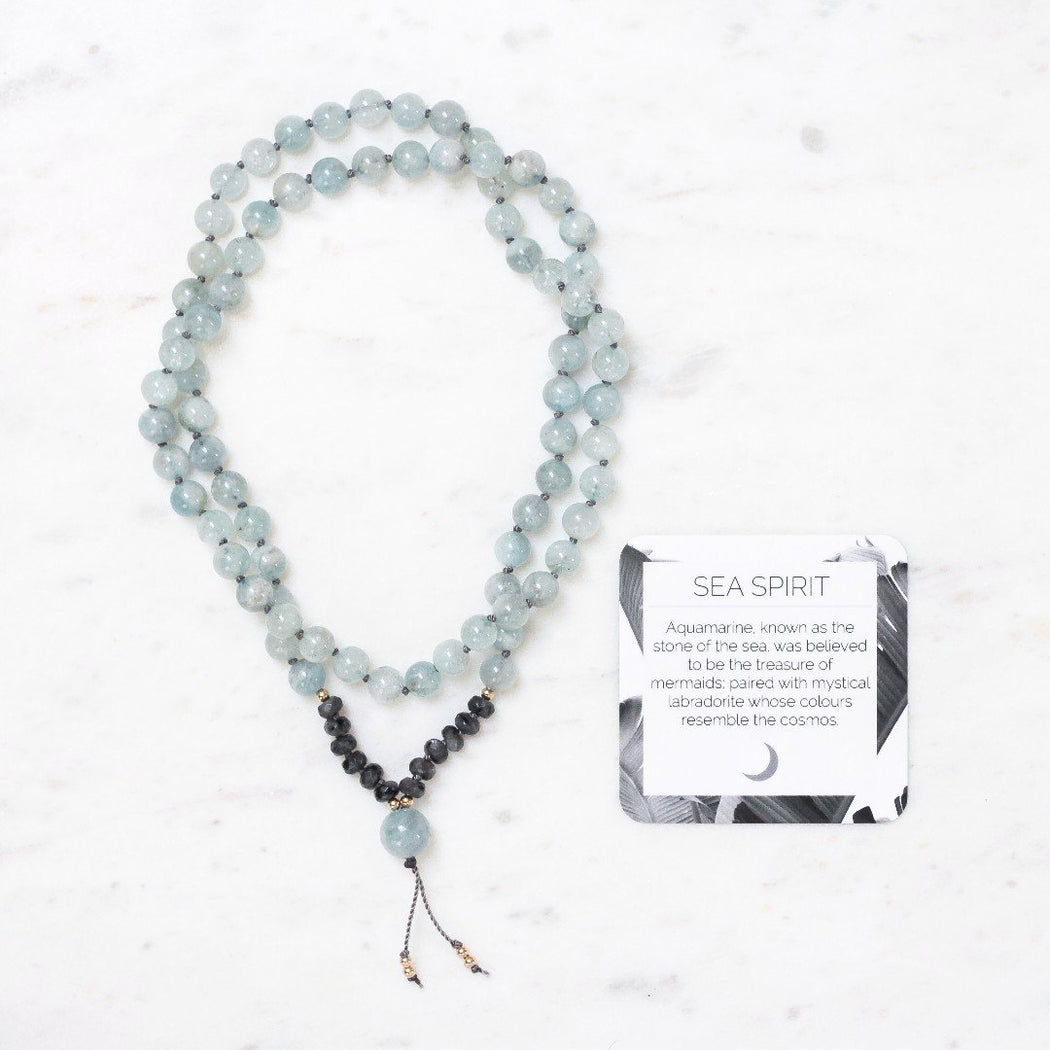 Sea Spirit Beaded Mala Necklace With Aquamarine Gemstone Beads