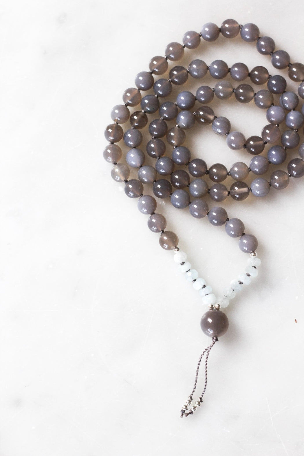 Serenity Beaded Mala Necklace With Agate Gemstone Beads