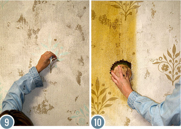 How to Stencil Tutorial: Crackled Plaster Decorative Painting Wall Finish with Flower Stencils