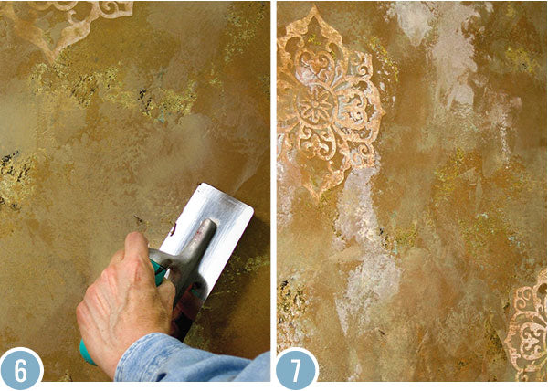 Distressed Gold Inlay Plaster Wall Finish Modello 174 Designs