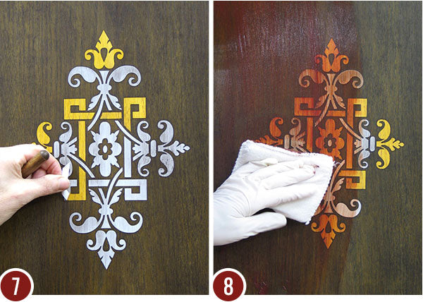 How to Stencil Faux Inlaid Wood Designs - Decorative Wall Finish & Painting Tutorial