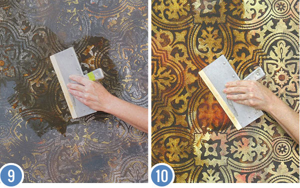How to Stencil & Paint a Decorative Wall Finish - Metallic Foil Wall Finish with Custom Wallpaper Wall Stencils
