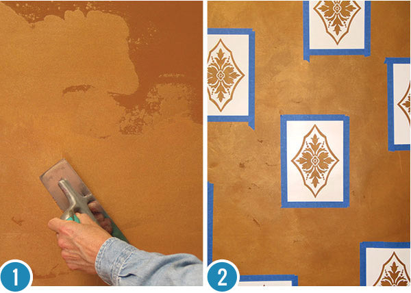 How to Stencil Tutorial - Stenciling Designs on a Faux Green Marble Finish - Custom Painted Wall Mural