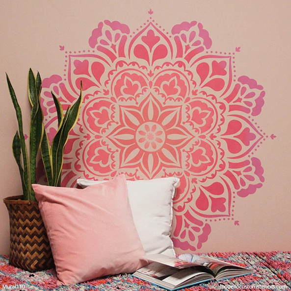 How to Paint a Mandala Mural with Wall Stencils from Modello Designs Custom Stencils modellocustomstencils.com