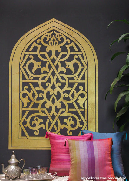 Gorgeous, easy gilding with a Modello vinyl wall stencil