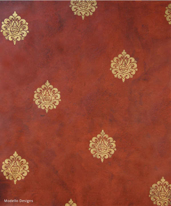 How to Paint a Professional Decorative Finish - Asian Oriental Wall Art Stencils with Red Plaster Finish