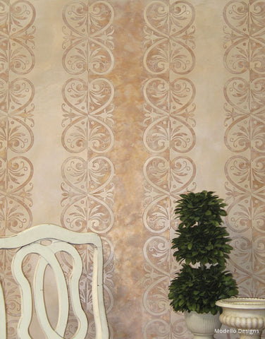 Faux stone plaster finish from Modello Custom Stencils