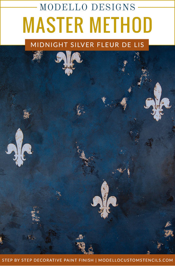 How to Stencil & Decorative Painting Plaster Tutorial: Midnight Blue Wall Finish & Silver Fleur de Lis Stencils
