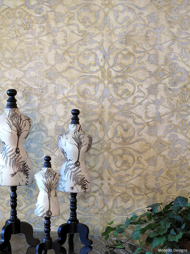 How to Stencil a Fortuny Silk Damask Wall Design - Decorative Painting Tutorial