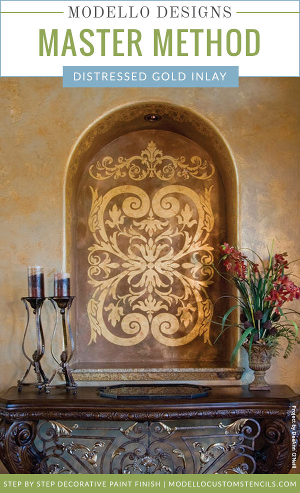 Distressed Gold Inlay Plaster Wall Finish – Modello® Designs