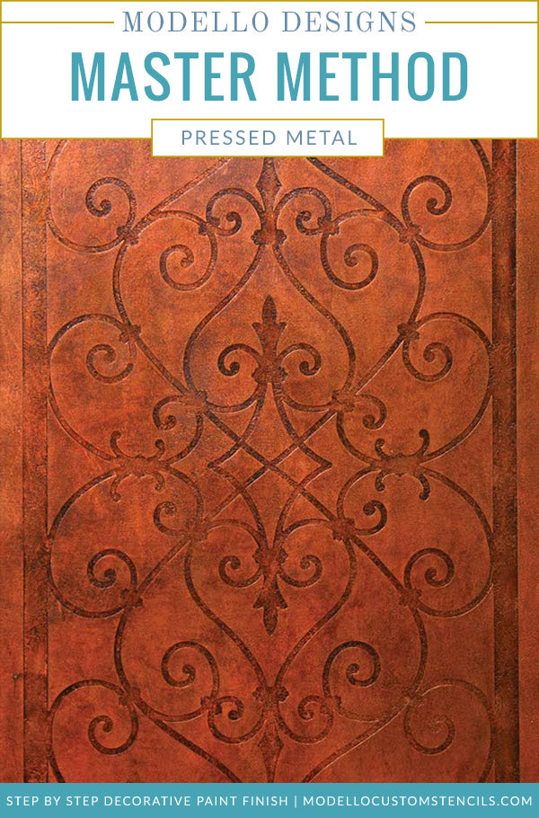 How to Stencil: Old World Faux Pressed Metal Decorative Finish