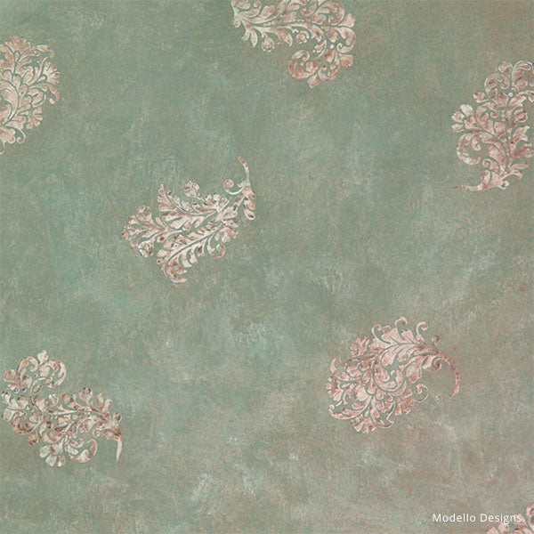 How to Stencil Tutorial: Shabby Chic French Floral Wall Mural Finish