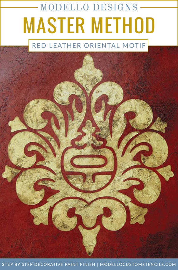 How To Paint A Professional Decorative Finish   Asian Oriental Wall Art  Stencils With Red Plaster