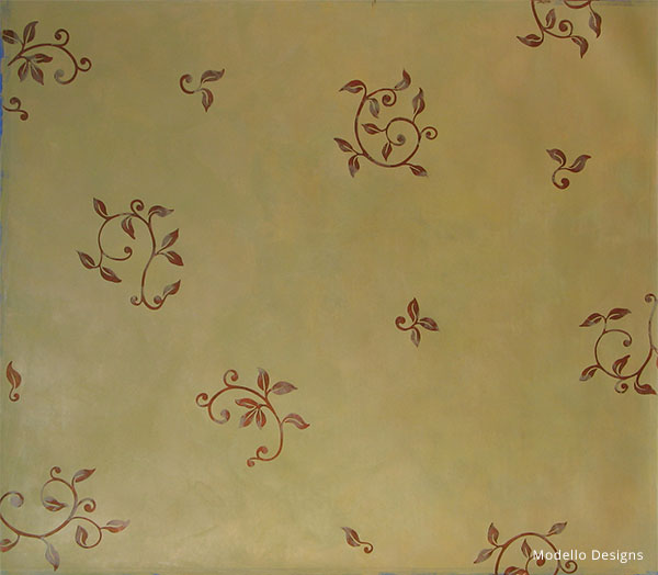 How to Stencil Tutorial: Custom Stenciled Patina Plaster Decorative Paint Finish
