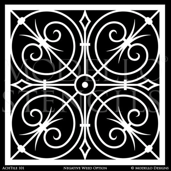 Large Tile Stencils for Painting and Decorating Custom Decor - Modello Custom Stencils