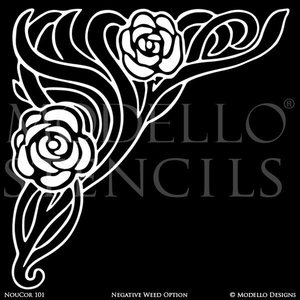 Art Nouveau Decor and Painted Ceiling Corner Rose Stencils - Modello Designs