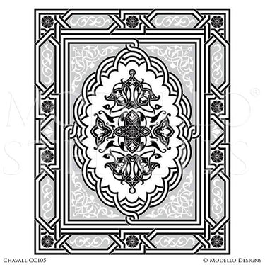 Designer Stencils with Painted Concrete Floor Carpet Decor - Custom Stencils with Ornate Designs